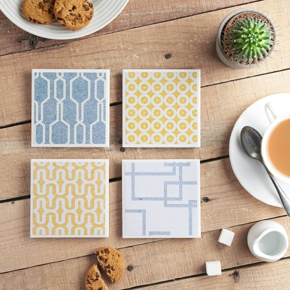 Geometric Print -  Ceramic Tile Coasters - Blue and Yellow - Denim Design, Coaster Set