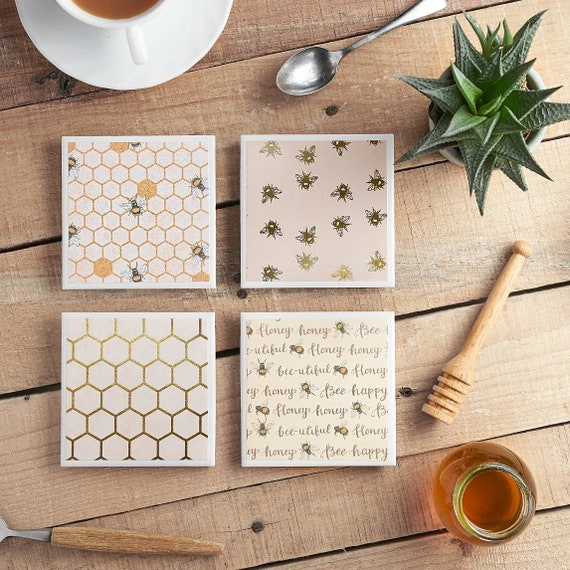 Bee Happy Ceramic Coasters, Tile Coasters, Bees