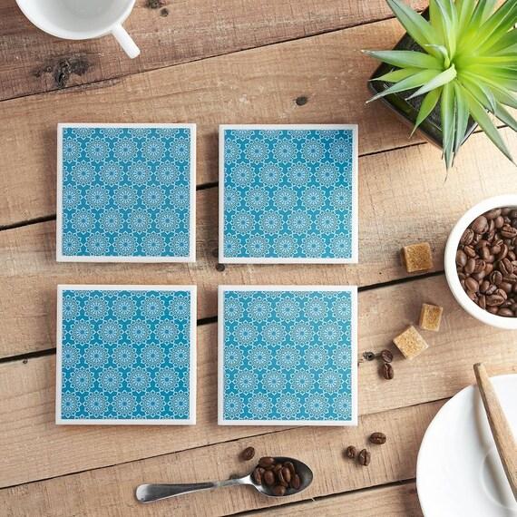Teal Lace Ceramic Tile Coaster Set.