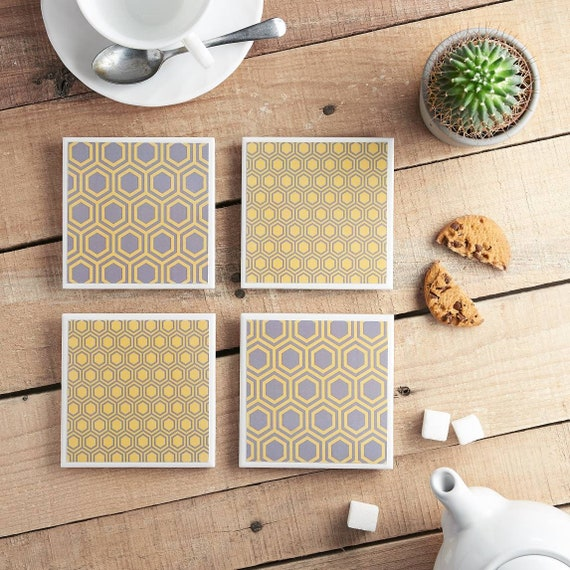 Honeycomb Grey and Yellow Ceramic Tile Coasters