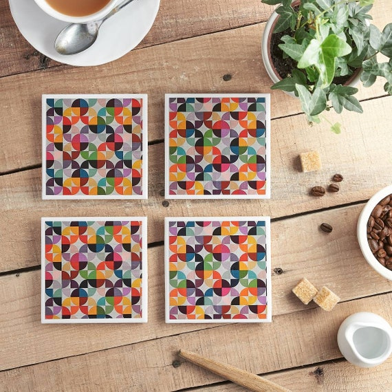 Multicoloured Coasters, Vintage, Coasters, Tile Coasters, Coasters, Geometric, Coaster Set