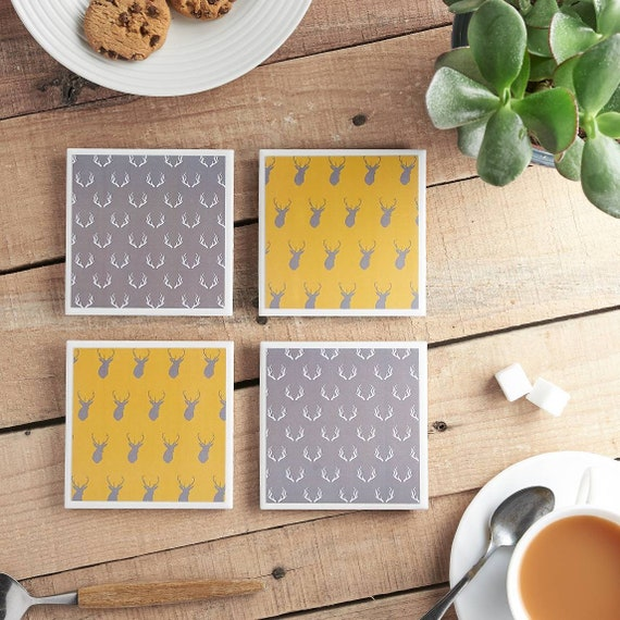 Stag Coasters, Antlers, Yellow and Grey Ceramic Tile Coasters, Drinks Mats, Coaster Set
