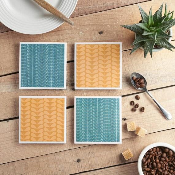 Mid Century Modern Geometric Ceramic Tile Coasters