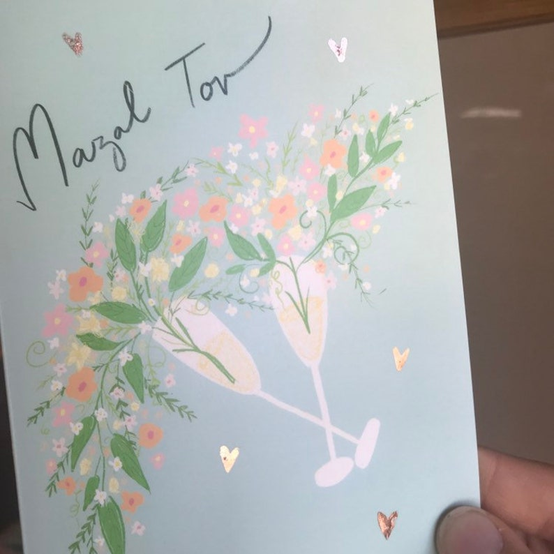 option with Rose Gold hearts Mazal Tov Floral Champagne Card