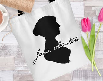 Jane Austen Silhouette with Autograph Tote Bag