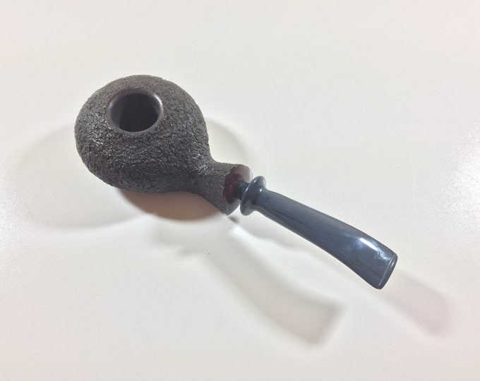 Dark Brown Rusticated Squashed Tomato Style Tobacco Pipe with Hand-cut Midnight Blue & Black Ebonite Stem