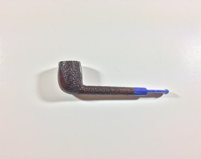 Partially Rusticated Lovat Tobacco Pipe with Hand-cut Cobalt Blue Acrylic  Stem