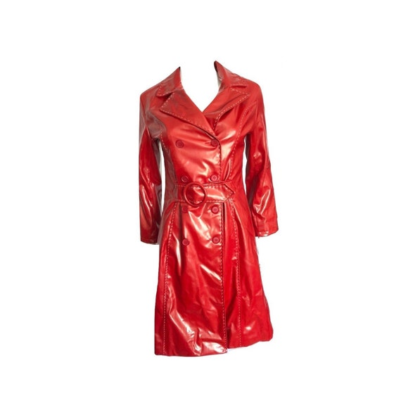 Vintage Red Faux Leather Trench Coat, Red Trench C
