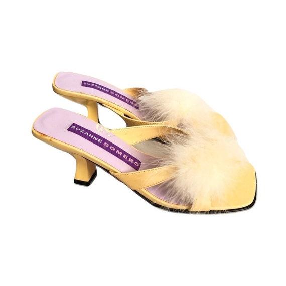 Vintage Yellow Feather Kitten Heels, Feather Heels