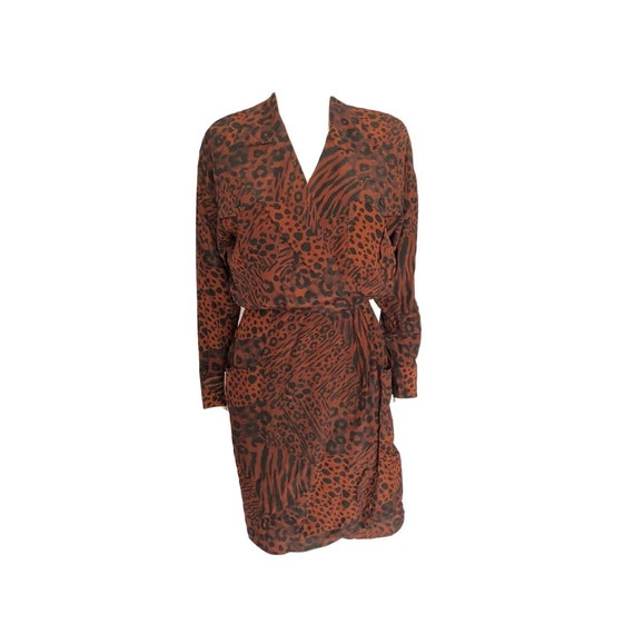 Vintage 1980's Silk Animal Print Wrap Dress,  Leop