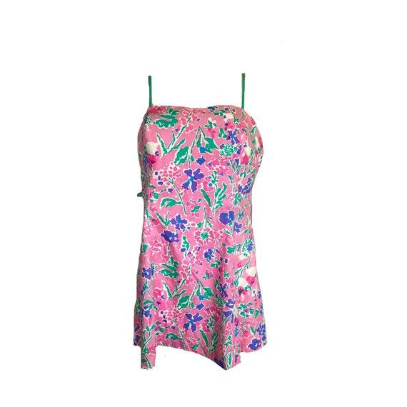 80s Pink Floral Mini Dress
