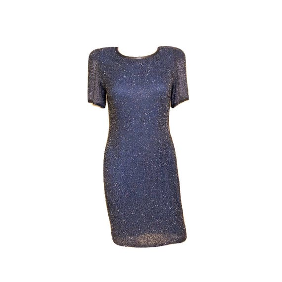 Vintage 80's Blue Silk Beaded Dress, Silk Dress, B