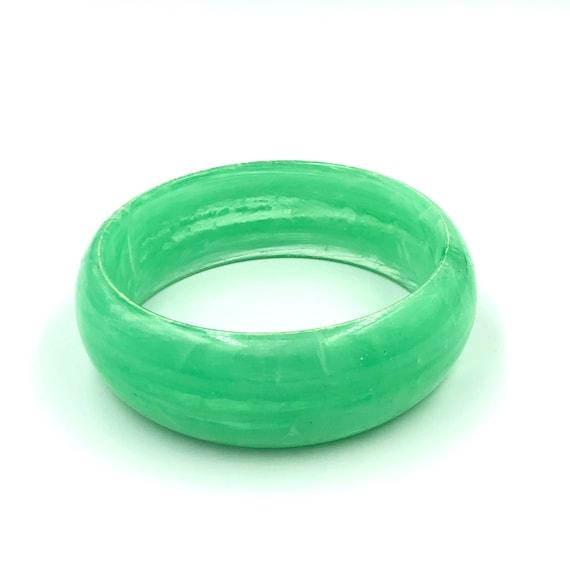 1960's Green Marbled Lucite Bangle Bracelet