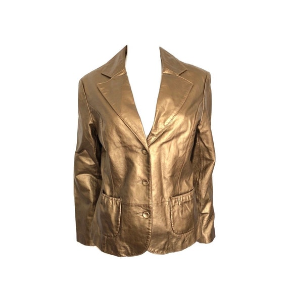 Vintage Bronze Leather Blazer, Metallic Leather Bl