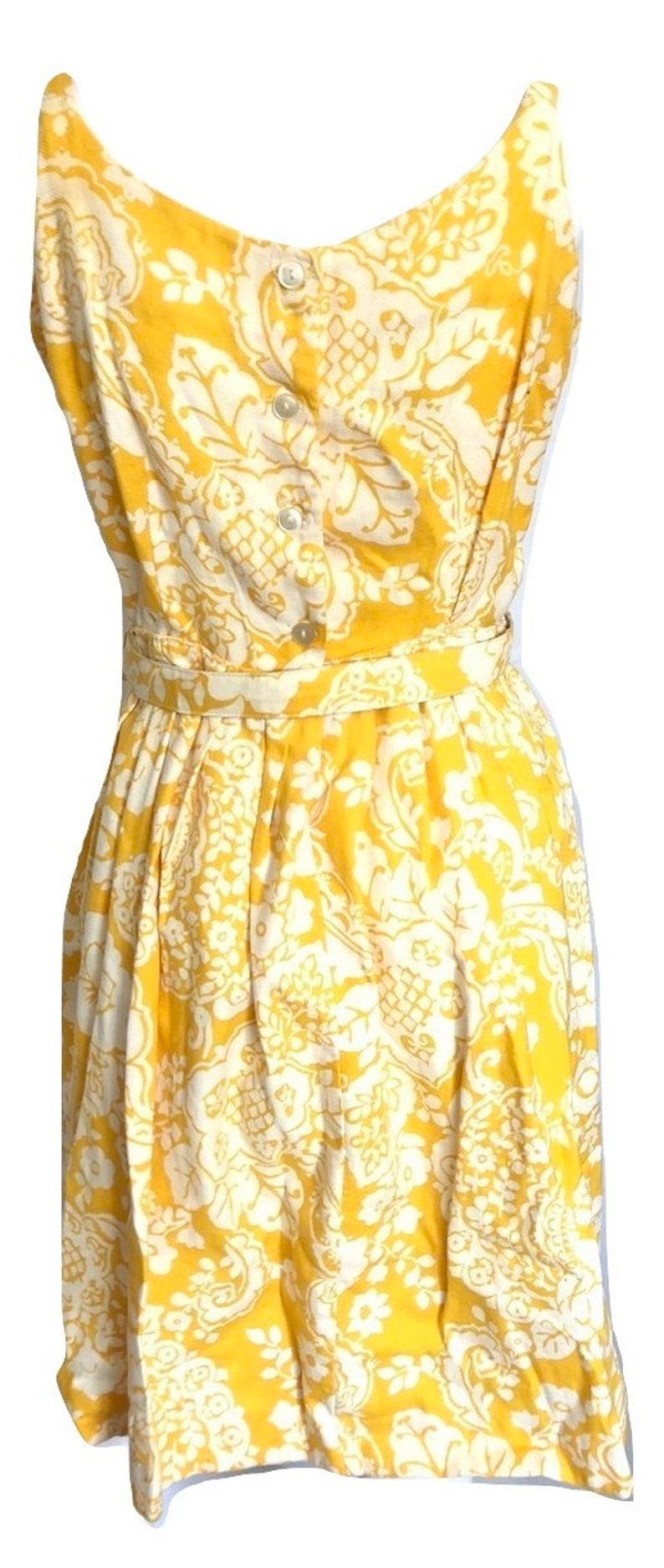 Vintage gelb Floral Paisley Kleid gelbe Blumenkleid gelbe ...