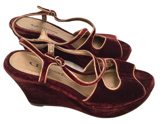 Vintage 90's Velvet Wedge Sandal, Burgundy Velvet Sandals
