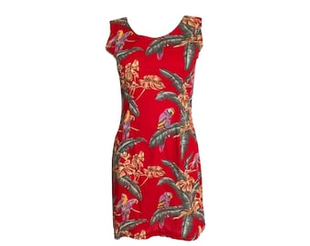 Vintage Red Hawaiian Dress, Red Tropical Dress, Red Floral Dress