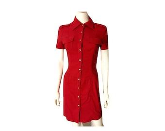 Vintage 90's Shirt Dress, Red Dress