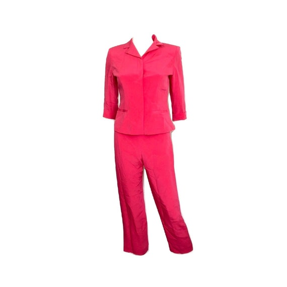 Vintage Hot Pink Silk Suit, Vintage Silk Suit, Pi… - image 1