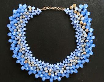 Beaded Choker, Woven Bead Necklace, Blue Choker Necklace