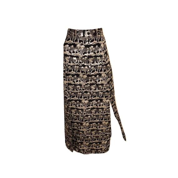 Vintage Metallic Embroidered Maxi Skirt, Embroider