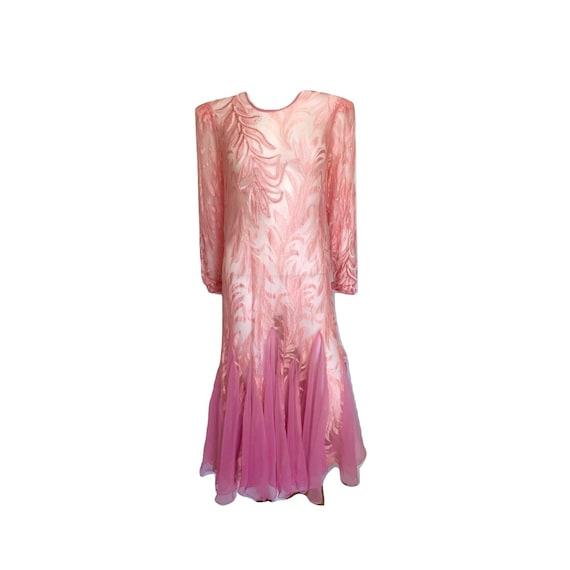 Vintage Pink Sheer Lace Sequin Mermaid Dress, Pink