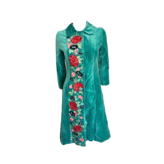 Vintage Green Velvet Floral Sequin Embroidered Tre