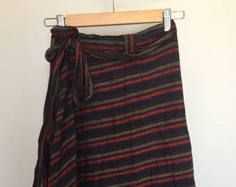 Cotton Striped Skirt with Tie