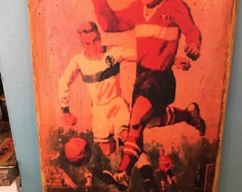 """Vintage retro Style """"Manchester United vs Real Madrid"""" Soccer Game Poster, Sports Bar Pub England Spain"""
