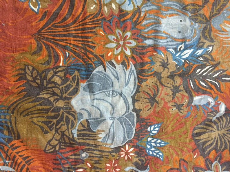 lions elephants and giraffes Vintage curtain double width curtain panel