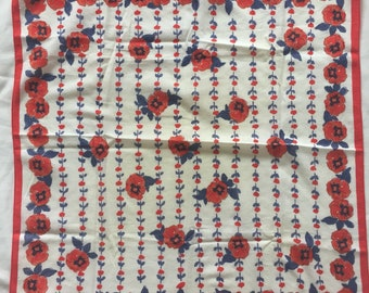 Vintage Vera red white and blue floral scarf.