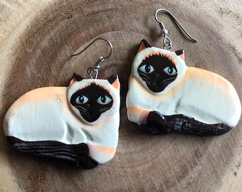 wooden siamese cat earrings