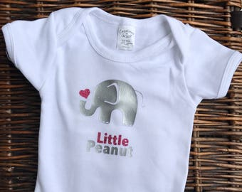 Baby Girl Boy Elephant Bodysuit, Cute Baby Girl, Little Peanut Elephant Coming Home Outfit, Newborn Bodysuit, Trendy Baby Girl Clothes