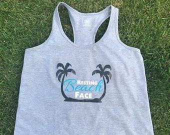 Resting Beach Face Adult Razor Back Tank Top, Trendy Beach Clothes, Adult Summer Wardrobe, Trendy Women's Clothing