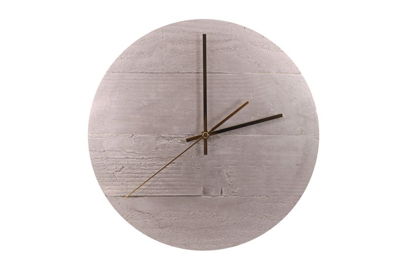 Cast Concrete Wall Clock With Wood Grain Natural Or Sugi Ban Brass Handles