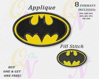 b72a7b7e53e0 Batman logo applique embroidery design