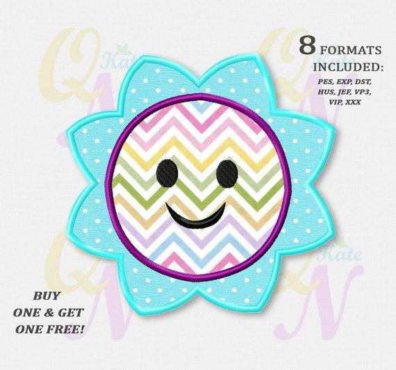 Bogo Free Summer Sun Applique Embroidery Design Sun Machine Etsy