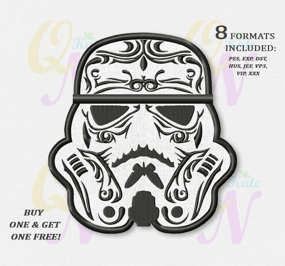 Bogo Free Monochrome Sugar Skull Stormtrooper Applique Embroidery