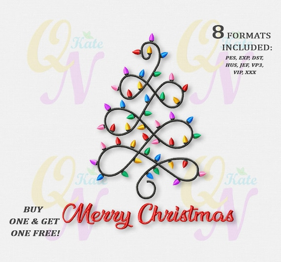 BOGO FREE! Christmas tree lights Machine Embroidery Design, Christmas  lights Embroidery Designs, Merry Christmas Embroidery Designs, #180