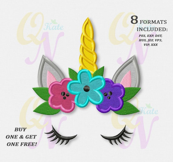 Bogo Free Unicorn Face Applique Embroidery Design Floral Etsy