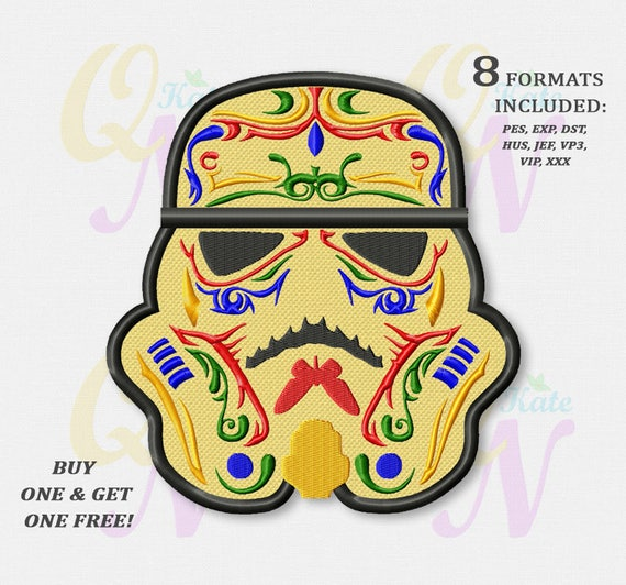 Bogo Free Sugar Skull Stormtrooper Applique Embroidery Design Star