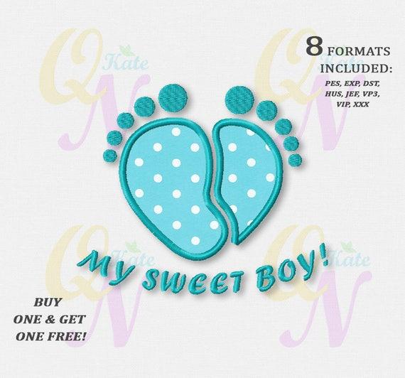 Bogo Free Baby Boy Footprints Applique Embroidery Designs Etsy
