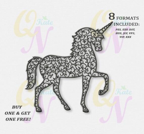 Bogo Free Monochrome Unicorn Embroidery Designs Rainbow Etsy
