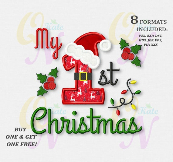 BOGO FREE My 1st Christmas Applique Embroidery Design   Etsy