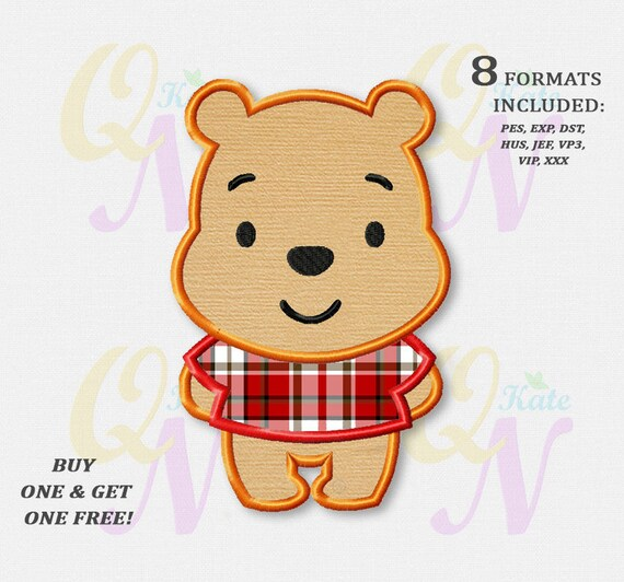 BOGO KOSTENLOS Winnie The Pooh Applikation Stickmuster | Etsy