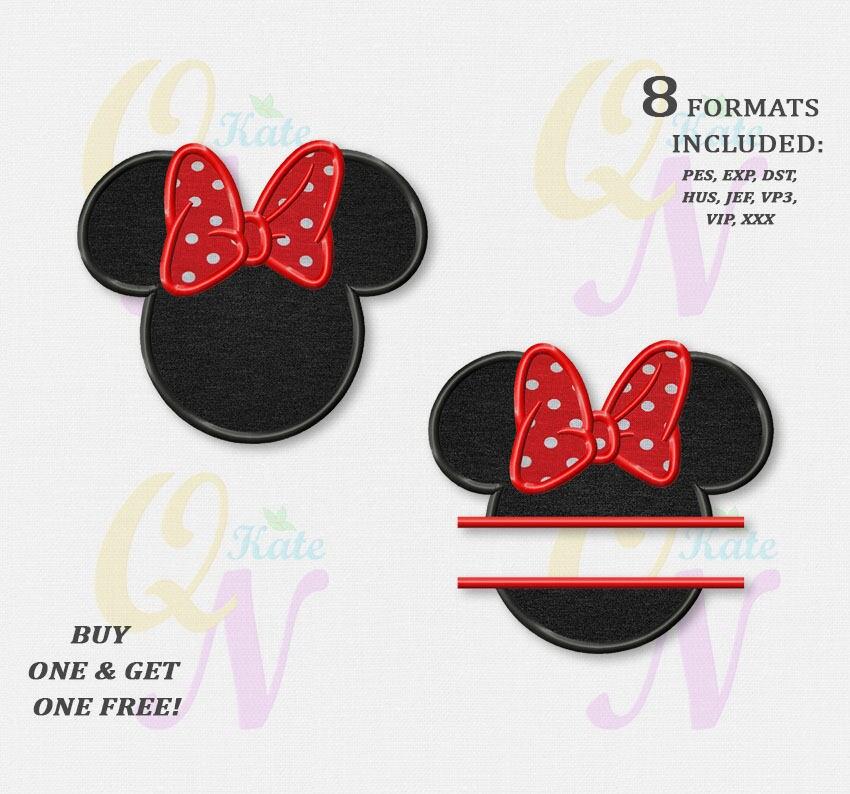 BOGO GRATIS CONJUNTO bordado de la cabeza de Minnie Mouse | Etsy