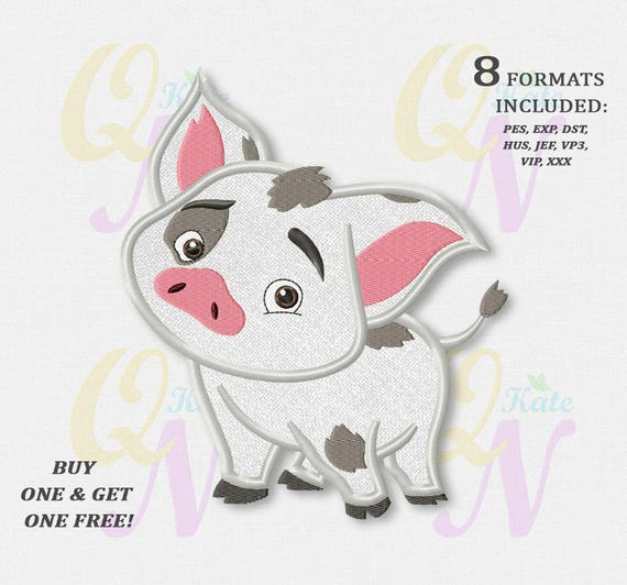 bogo free pua pig applique embroidery designs moana machine etsy