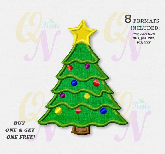 bogo free christmas tree applique embroidery design christmas tree machine embroidery designs digital instant download file 054 from katequickneedle on