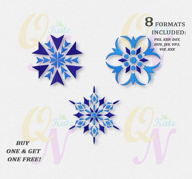 Bogo Free Set Of Three Snowflakes Embroidery Designs Etsy