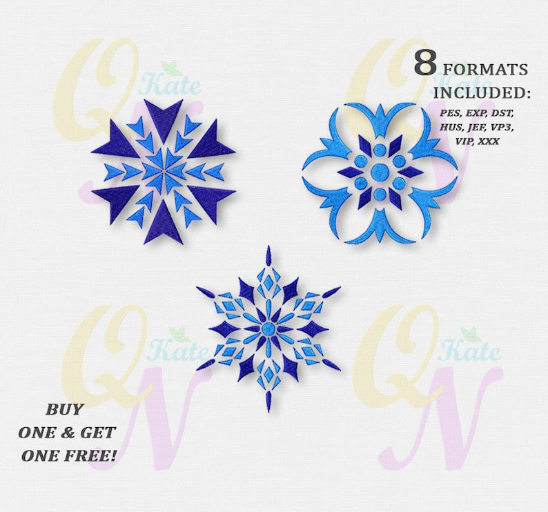 BOGO FREE! Set of three snowflakes Embroidery Designs, Snowflakes Machine  Embroidery Designs, Instant Download, Christmas Designs, #011